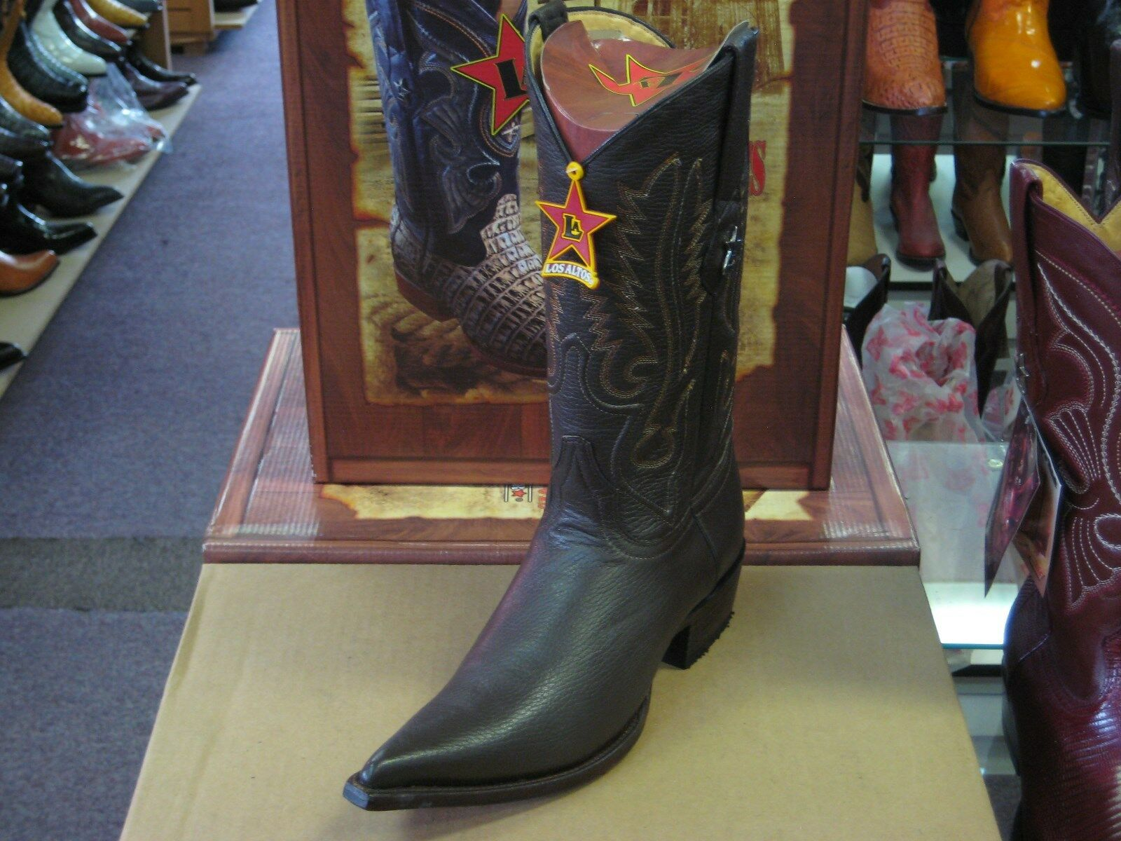 LOS ALTOS Marrón 3X-TOE Original Bota de ciervo Western Cowboy (D) 95DV8307