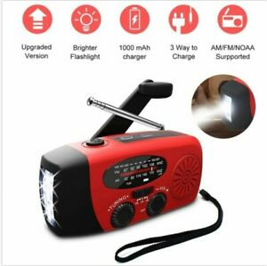 USB Notfall Solar Hand Kurbel Radio AM//FM Wetter Mini Taschenlampe Schwarz Rot