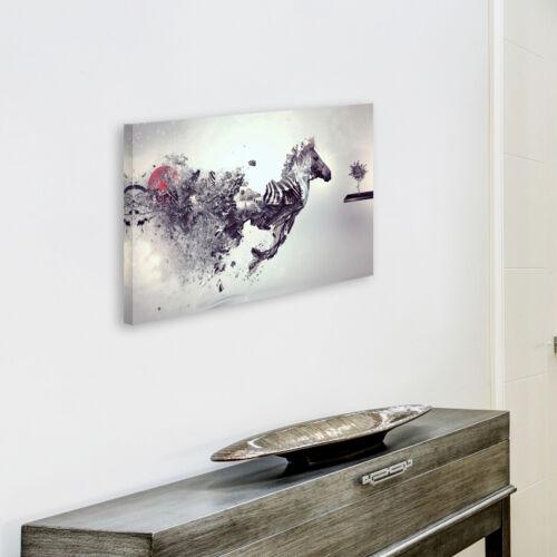 Metallic Zebra Black White Funky Animal Canvas Wall Art Large Picture Print