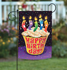 NEW Toland - Happy Birthday Cupcake - Dancing Candle Celebrate Garden Flag
