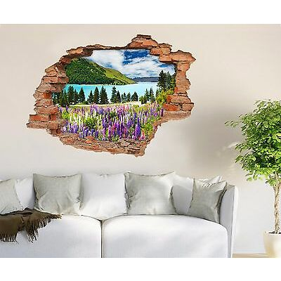 3D River Flowers 35 Wall Murals Wall Stickers Decal breakthrough AJ WALLPAPER UK