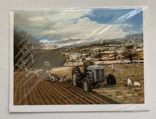 WINTER PLOUGHING BY RAY HUTCHINS ART GREETING CARD BLANK FARMING