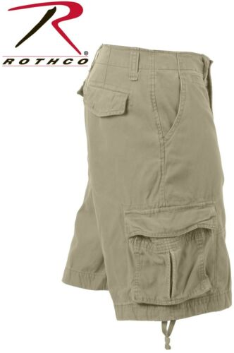 Khaki Vintage Army Ranger Infantry Military Utility Cargo Shorts Rothco 2547
