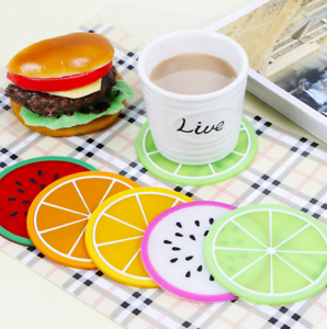7pcs Silicone Fruit Coaster Silicone Tea Cup Drink Holder Mat Placemat Pad  low//