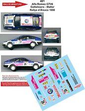 DÉCALS 1/43 réf 401 Alfa Romeo GTV6 Gottelmans - Matter Rallye d'Alsace 1998