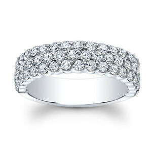 1.50 Ct Certified Moissanite 14K Real White Gold Engagement Superb Eternity Band