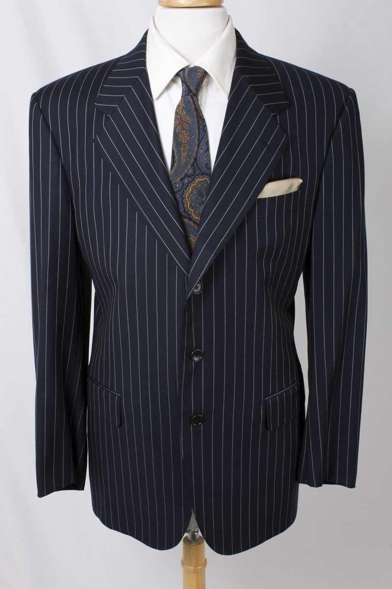 Ravazzolo Size 46R Navy Pinstripe 100% Wool Three Button Blazer 1152 L717