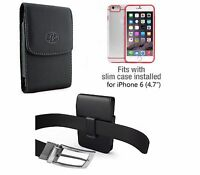 For iPhone 6/6s/&7 Vertical Black Leather Holster Case  with Swivel  Belt Clip