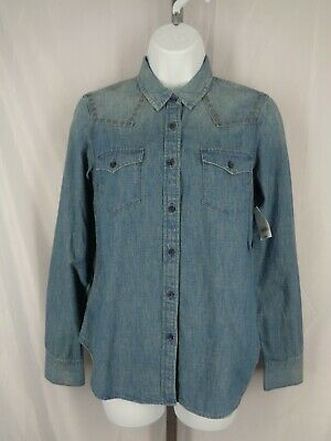 Gap 1969 Denim Western Shirt Dark Indigo Long Sleeve Size S M New