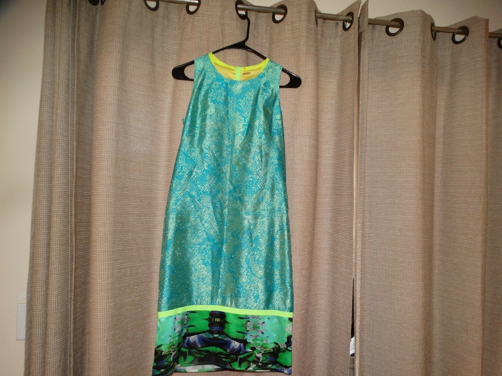 ELIE TAHARI womens sz 0 stunning summer sheath dress great colors excellent