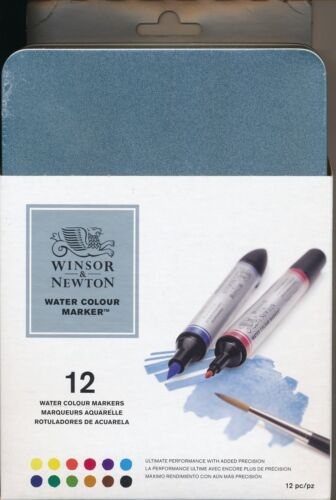 Winsor And Newton 12 piece Water Colour Markers tin case set NEW