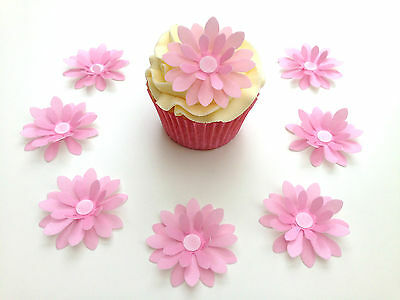 14 Edible White 3D Wafer Flowers Cupcake Toppers Precut