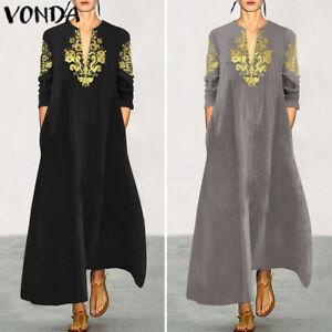 Mode-Femme-Simple-Manche-Longue-Imprime-Col-V-Ample-Casuel-Club-Dress-Robe-Plus