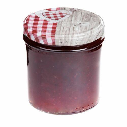 50 Sturzgläser 350 ml Deckel Herz Holz rotkariert Einmachgläser Einweckglas Glas