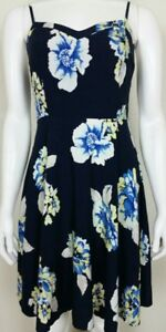 Old-Navy-Womens-Navy-Blue-Floral-Sun-Dress-Spaghetti-Strap-100-Rayon-Size-Small