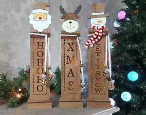 Détails sur en bois rustique allumer table fenêtre bonhomme de neige Père  Noël Décoration