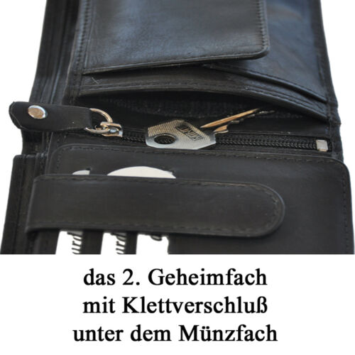 Geldbörse mit RFID-Schutz Geheimfächer Wiener Schachtel Portemonnaie Geldbeutel
