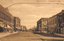 Blackwell Oklahoma Avenue Street Scene Store Fronts Antique Postcard K15823