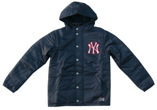 New York Yankees Coat Boys Puffer coat//Jacket Navy Blue Hooded Majestic 8-1