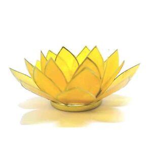Bleu avec bordure dorée fleur de lotus 5th chakra tea light candle holder /& bougie