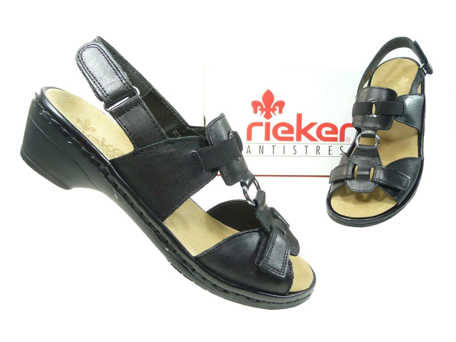 Rieker Damenschuhe Sandalen Sandaletten 65462-00 in Schwarz (Art.Nr. 65462-00 Sandaletten Adelheid) 49c4af