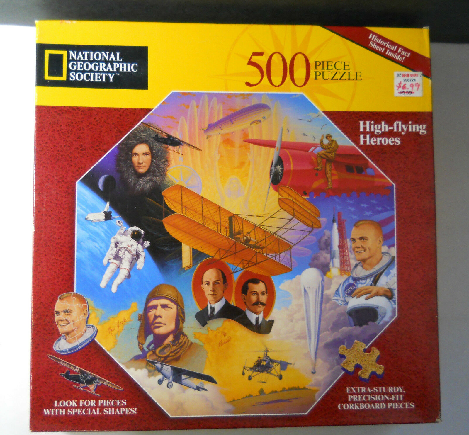 Factory Sealed 1996 National Geographic Aviation HIGH FLYING HEROS 500 Pc Puzzle