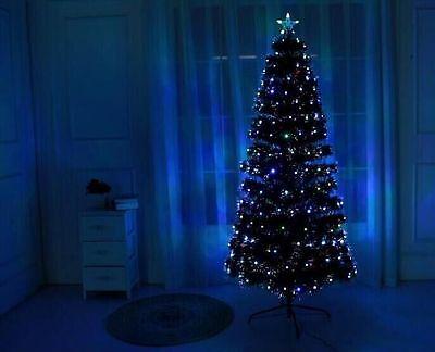WHITE  Led & Fibre Optic Christmas Xmas Tree Lights Pre Lit Decoration 4-5-6-7FT
