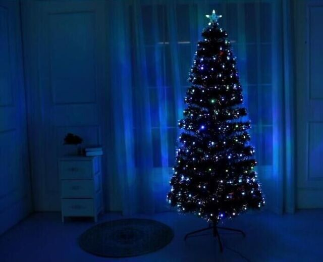 Pre Lit Rotating Christmas Tree.Black Led Fibre Optic Christmas Xmas Tree Lights Pre Lit Decoration 4 5 6 7ft