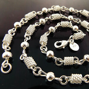 Necklace-Chain-Real-925-Sterling-Silver-S-F-Solid-Vintage-Filigree-Link-24-034