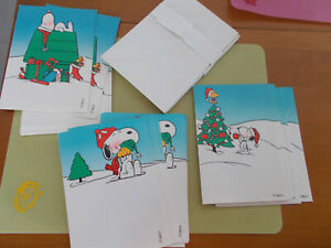 Snoopy-Vintage-1965-Christmas-Cards-Unused-Hallmark-Lot-22-For-Pet-Rescue