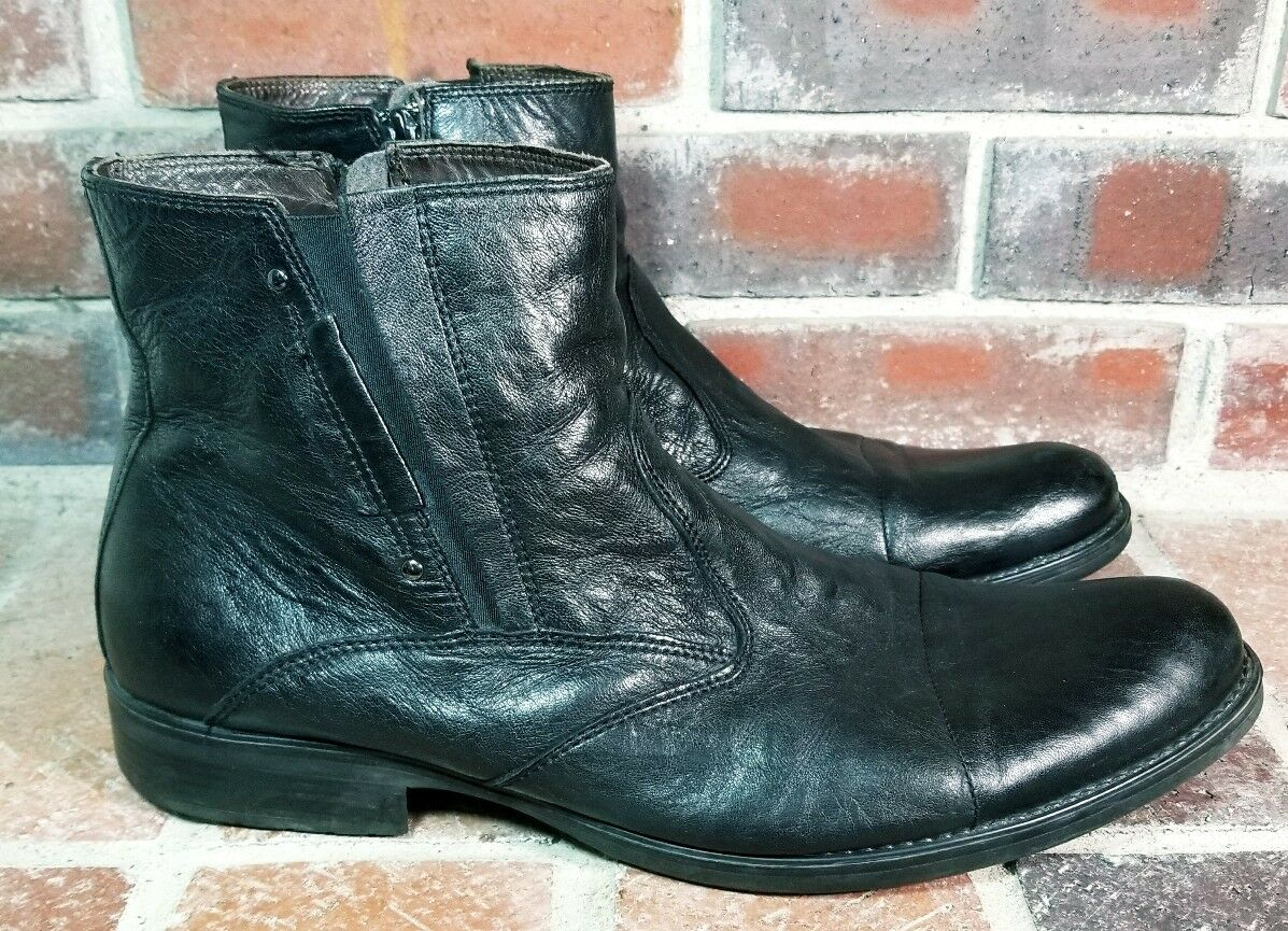 Bata Black Leather Side Zip Ankle Boots - Men's Size 45