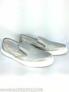 TOPSHOP SILVER SLIP ON FLAT SHOES SIZE