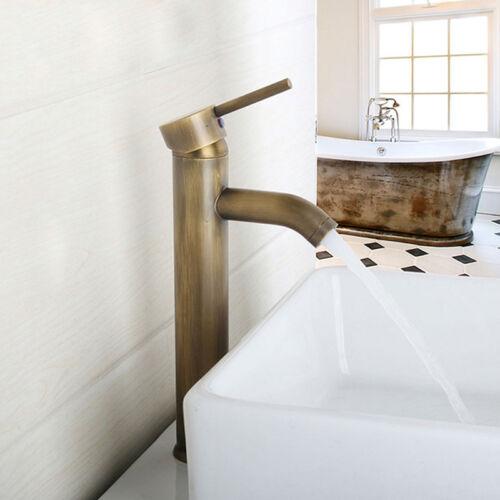 Bathroom Basin Sink Faucet Single Handle Mixer Antique Brass Tall Vessel Tap