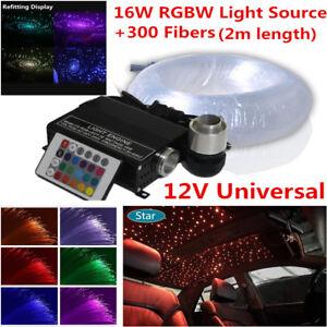 Car SUV LED Ceiling Light Fiber Optic Star Kit RGBW Lamp Source+300x Fiber Cable