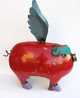 Yard Art Flying Pig Metal Sculpture 22