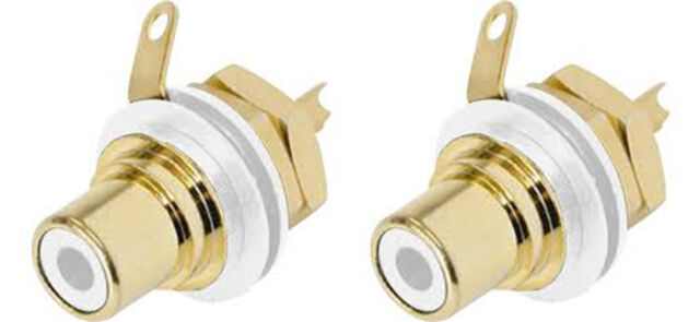 2 Genuine Neutrik Rean NYS367-9 Gold Plated RCA Jack Phono Chassis Socket, White