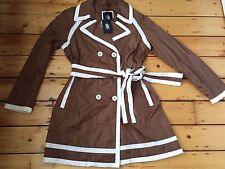 BNWT MARINA YACHTING WOMENS LUXURY BROWN CREAM MAC JACKET IT 44 UK 12