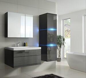 Badmobel Lux 1 New Mdf Badezimmermobel Grau Hochglanz Schwarz