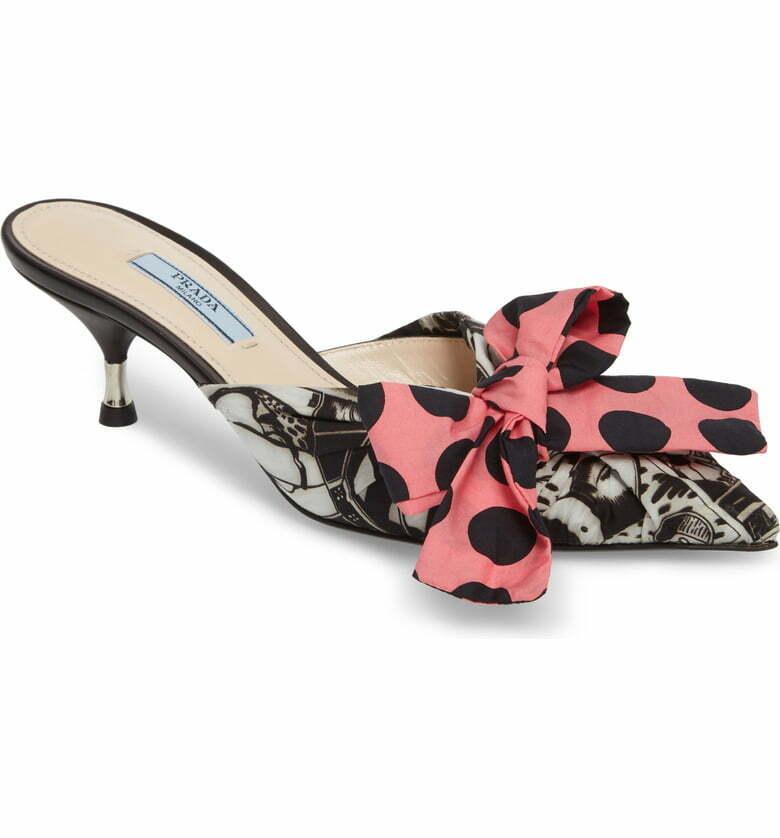 NIB  7790  PRADA Converdeibile Bow Pointy Toe Metal -accented Kitten Heel Mule 39.5  Miglior prezzo