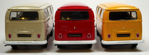 1:37 con puerta corredera Welly Furgoneta VW t2 matrícula amarillo coche modelo moldeo aprox 1970