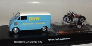 Schuco-450238800-DKW-Schnell-Laster-mit-Motorrad-Anhaenger-1-43