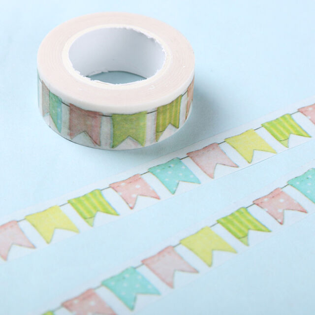10X Color Flag Washi Tape DIY Scrapbooking Decoration Masking Tape Adhesive Tape