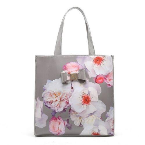 Patent Floral print tote shopper bag