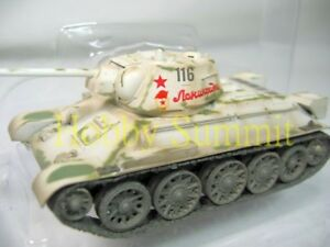 1-72-Russian-Army-WWII-T-34-76-1943-Tank-Winter-Camouflage-Finished-Model