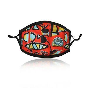 Ladies-Orange-Funky-Cotton-Face-Mask-Washable-Reusable-Adjustable-Double-Layer