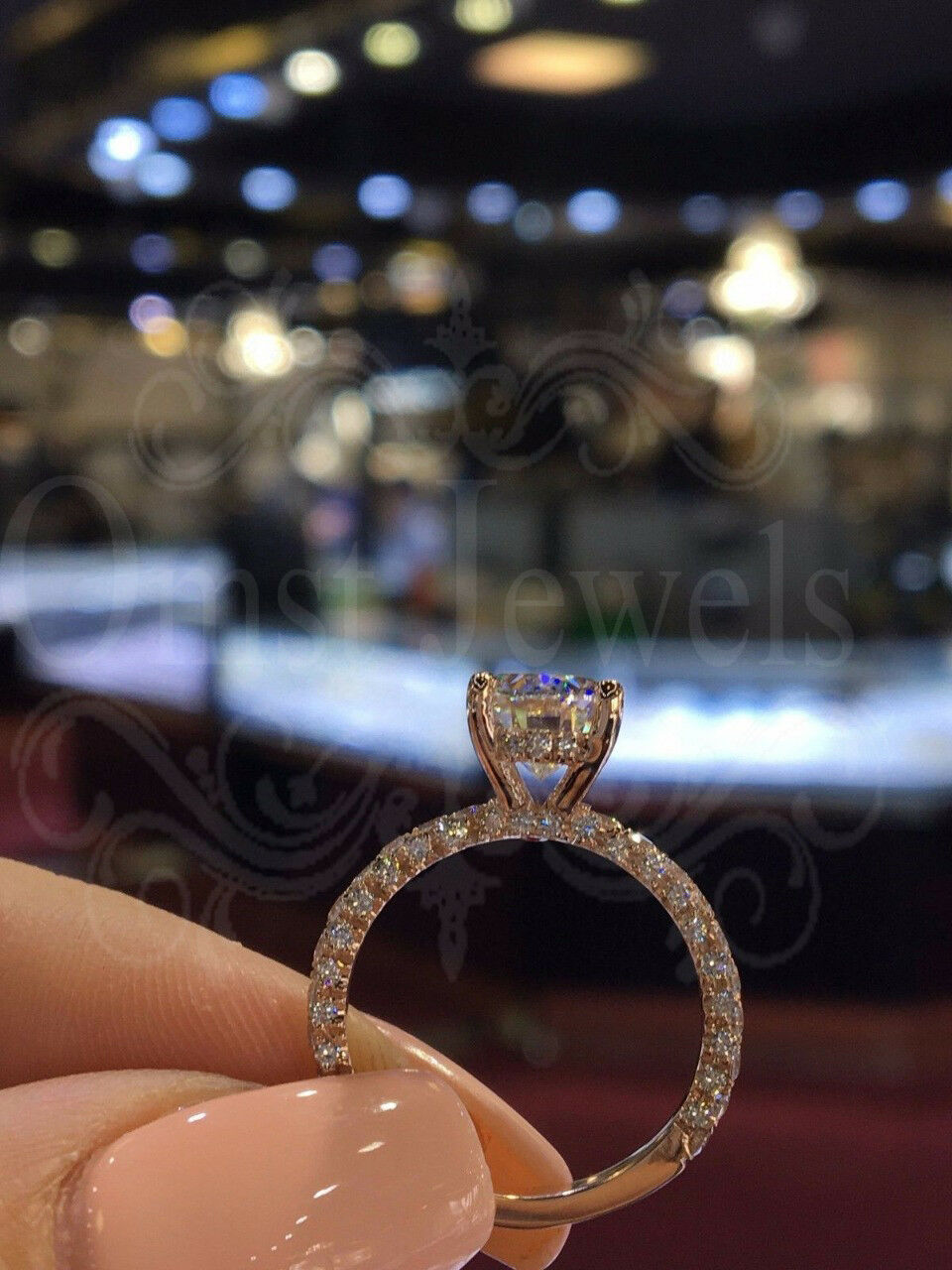 61fc93d14e19b Diamond gold pink Real 10K Ring Engagement Wedding Unique Delicate ...