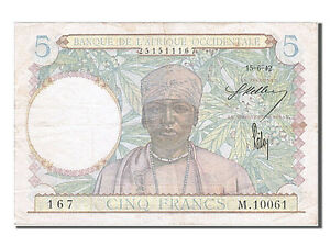Km #25 French West Africa Ef 5 Francs Ingenious 1942 #254561 40-45 1942-06-15 Carefully Selected Materials