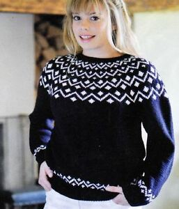 Knitting Pattern Lady S Fair Isle Sweater 81 107 Cm 59 Ebay