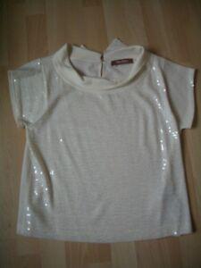 Ladies Cream Size L Maxmara Sequin Studio Top w1wRAP4q