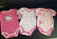 3 Pack Baby Hello Kitty Bodysuit Size 6-9 Months Pink White